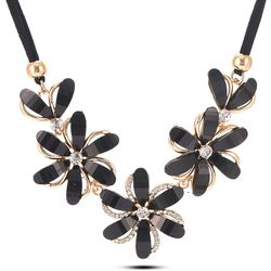 Sumptous Floroscent Eyelash Black Gold Plated  Necklace