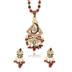 YouBella American Diamond Traditional Pendant Set with Chain and Earrings