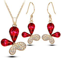 Butterfly Shaped Red Crsytal Pendant Set with Earrings