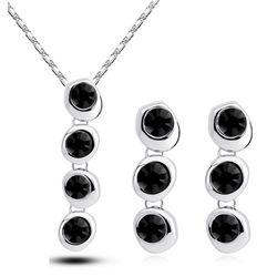 Silver Black Chain Style Color Pendant Set