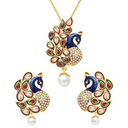 YouBella Dancing Peacock Gold Plated Kundan Necklace Set / Pendant Set with Chain and Earrings for Women