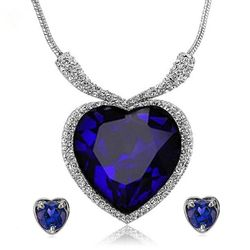 YouBella Titanic Heart of the Ocean Crystal Zircon Jewellery Necklace Set / Pendant Set with Earrings for Girls and Women