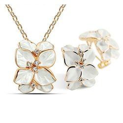 Satiny White Frond Embroiderd RoseGold Plated Pendant set