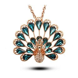 Accustomed Crystal Embellished Peacock Pendant