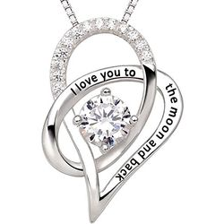 Resplendent Platinum Toned Bevy of CZ Love Pendant