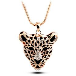 Gold Glossed CZ Incised Tiger Pendant