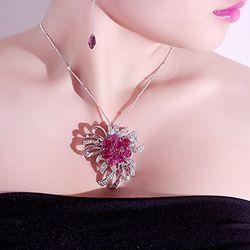 Hot Pink Swiss Zircon Studded Platinum Sheen  Pendant
