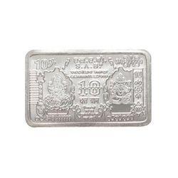 YouBella Lakshmi Ganesh S 999 10 G Bis Hallmarked Silver Bar Coin