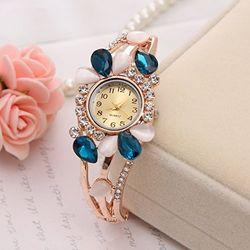 Lustorous Aquamarine Crystal Jeweled  RoseGold Watch