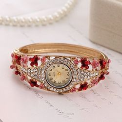 Majestic Fire Red Crystal Jeweled  RoseGold Watch