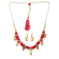 Designer Silk Thread Pearl Necklace with Earrings
