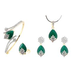 YouBella Signature Collection American Diamond Combo of Pendant with Earrings