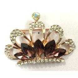 Beaming Brown  CZ Etched  Crown Brooch