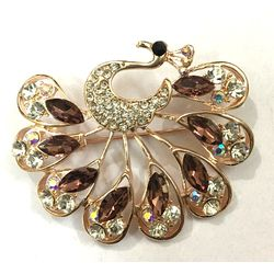 RoseGold Plated  CZ Encased Peacock Brooch