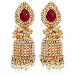 Fiery Red Bevy Of  Pearls Jhumki