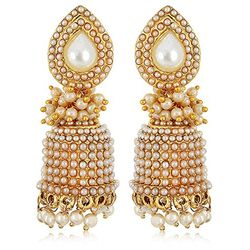 Shell White Clustered Pearls Gold Plated Jhumki