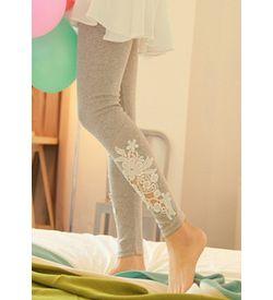 Grey Lace Detail Leggings