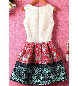 Vintage Print Skater Dress