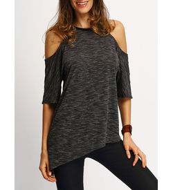 Cold Sholder Asymmetric Hem T-shirt