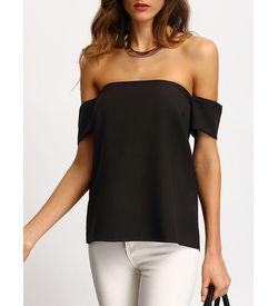 Black Off The Shoulder Shirt
