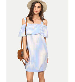 Light Blue Off Shoulder Stripe Ruffle Dress