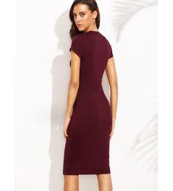 Burgundy Short Sleeve Bodycon Dress