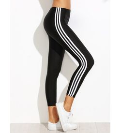 White Stripes Leggings