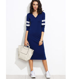 Blue Striped Jersey Dress