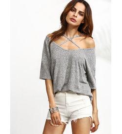 Grey Marled Crisscross T-Shirt