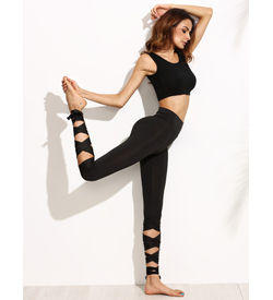Black Tie-up leggings