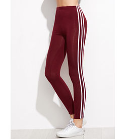 Burgundy Striped Leggings