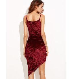 Burgundy Ruched Velvet Dress