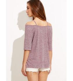 Burgundy Marled Crisscross T-Shirt
