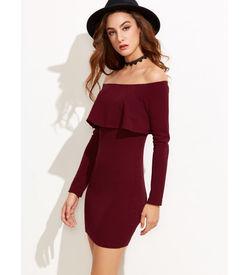 Burgundy Ruffle Bodycon Dress