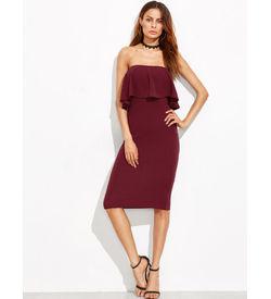 Burgundy Ruffle Bandeau Dress