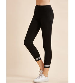 Black trim Stripe Leggings