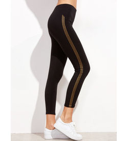 Gold Triple Stripe Lggings