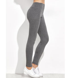 Grey Striped Leggings