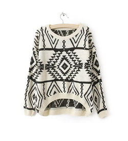 White Aztec Sweater