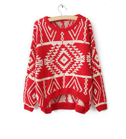 Red Aztec Sweater