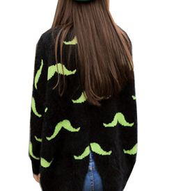 Neon Green Mustache Sweater