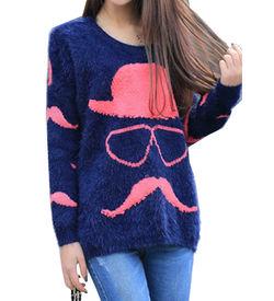 Neon Pink Mustache Sweater