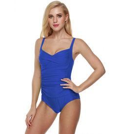 Blue Solid Pleated Monokini