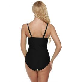 Black Solid Pleated Monokini