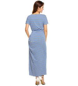 Blue Striped Short Sleeve Maxi