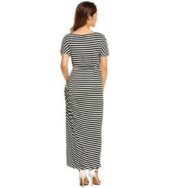Black Striped Short Sleeve Maxi