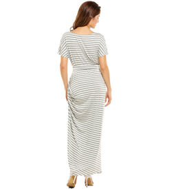 Grey Striped Short Sleeve Maxi
