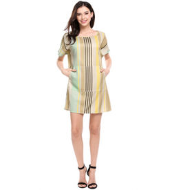 Gold Stripes Batwing Dress