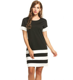 Black Sporty Stripes Dress