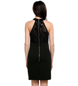 Black Sleveless Lace Detail Dress